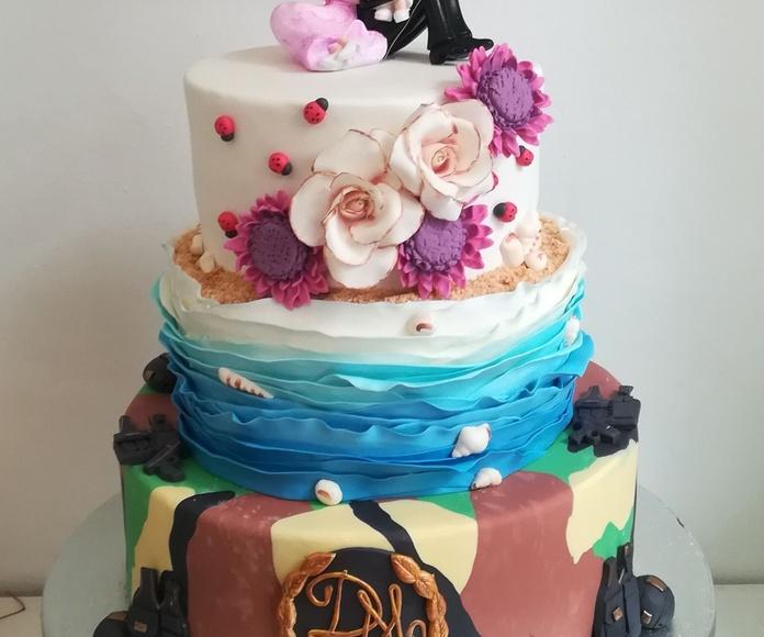 tarta de boda camuflaje