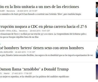 """Articulo en El País, en """"lo más leído"""" a nivel nacional"""