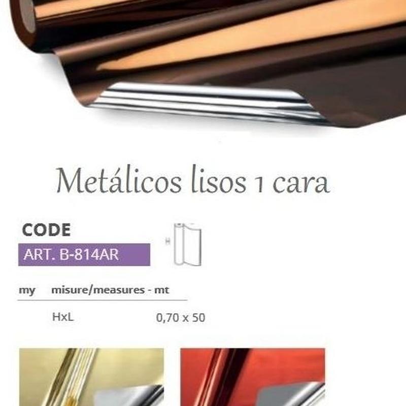 BOBINA PP METALICO LISO 1 CARA 35my (0,70 x 50MT) REF: B-814AR PRECIO: 13,50€/ UD (OFERTA PACK x3UD. EL PRECIO SE REDUCE A 12€/UD  )
