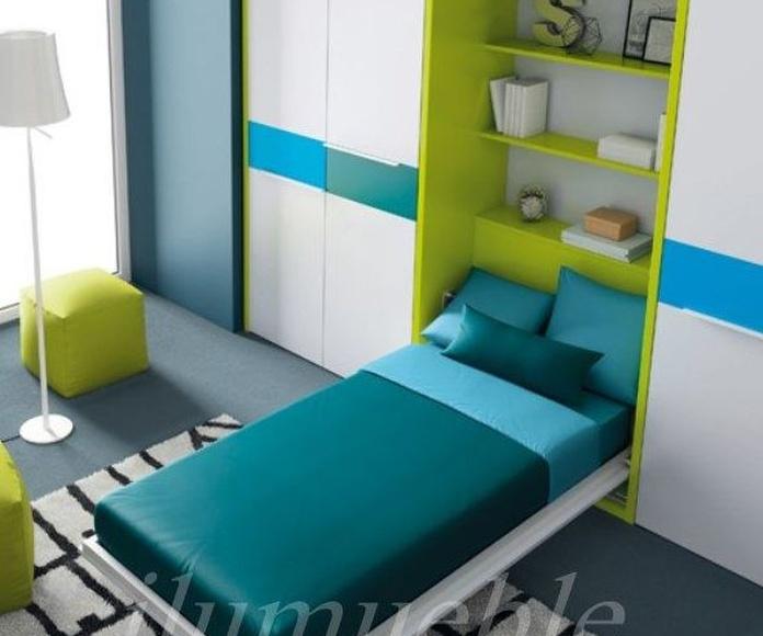 Detalle de cama abatible vertical.