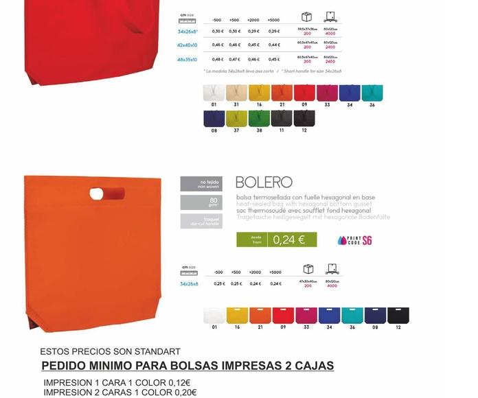 BOLSAS TEXTILES CALIPSO Y BOLERO