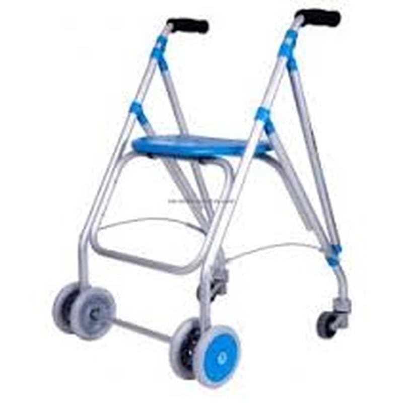 con 4 ruedas delanteras y 2 traseras con frenos por presión en las traseras.