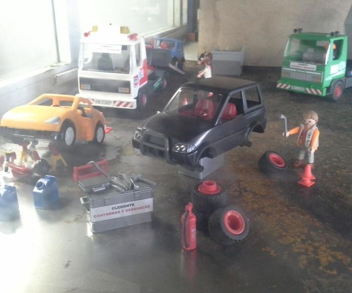 Exposicion de playmobiles de desguace y chatarra en Desguaces y Chatarras Clemente de Albacete