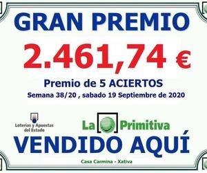 Premio 5 Aciertos de la lotería primitiva del Sábado 19 de Septiembre del 2020.