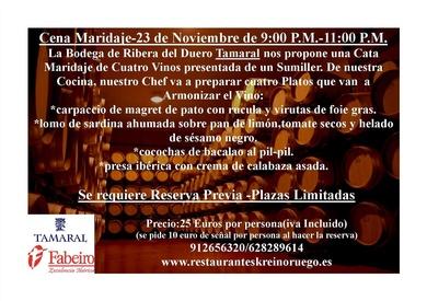 Cata Maridaje-23 de Noviembre de 9:00 pm-11:00 pm