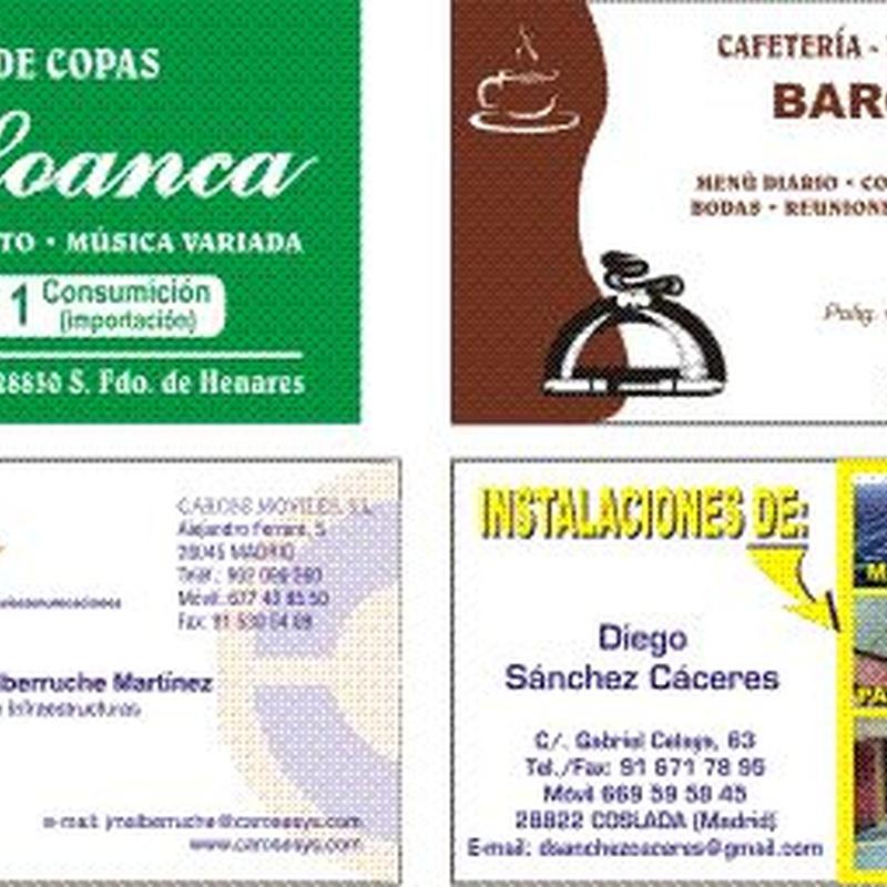 TARJETAS DE VISITA: Catálogo de Gráficas Antolín Imprenta