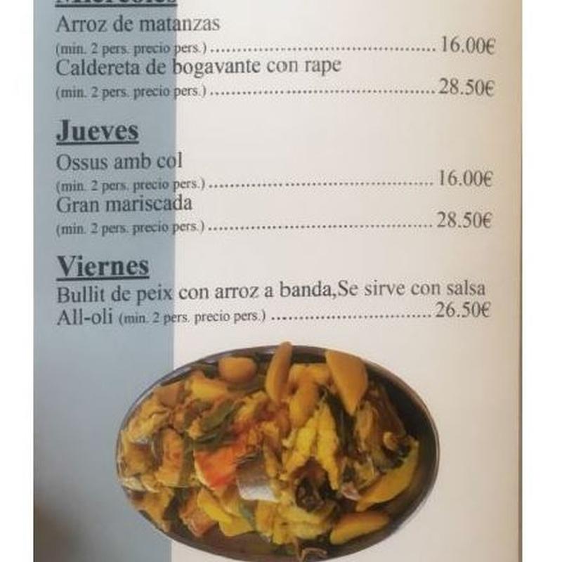 Platos del día: Carta de Restaurante Arrocería Es Arcs