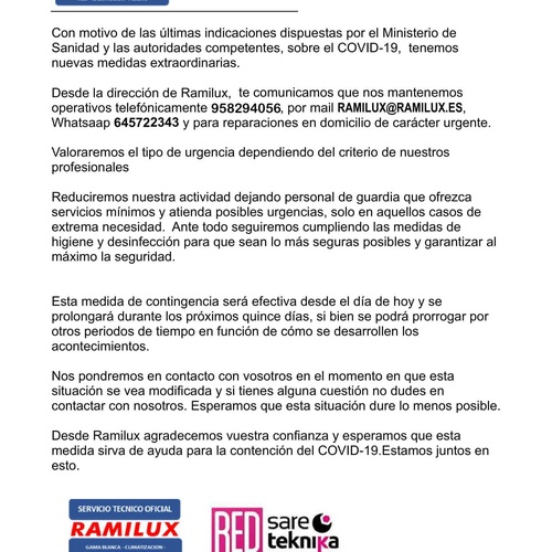 COMUNICADO COVID-19 RAMILUX