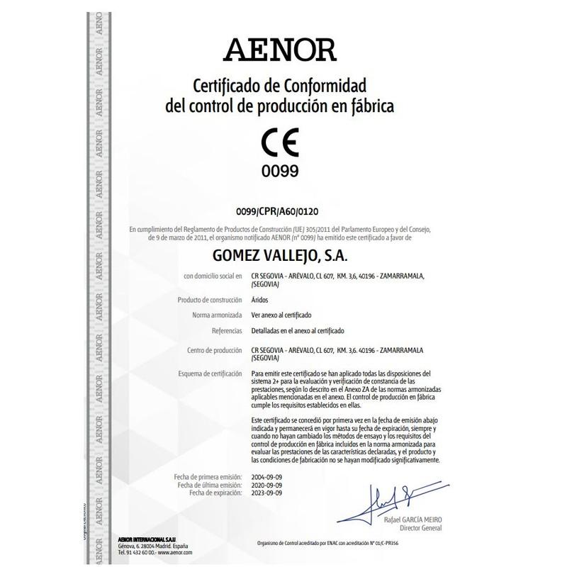 AENOR / Certificado de Conformidad de control de producción en Fábrica: Productos y Servicios de Gómez Vallejo, S.A. Arenas Silíceas Especiales