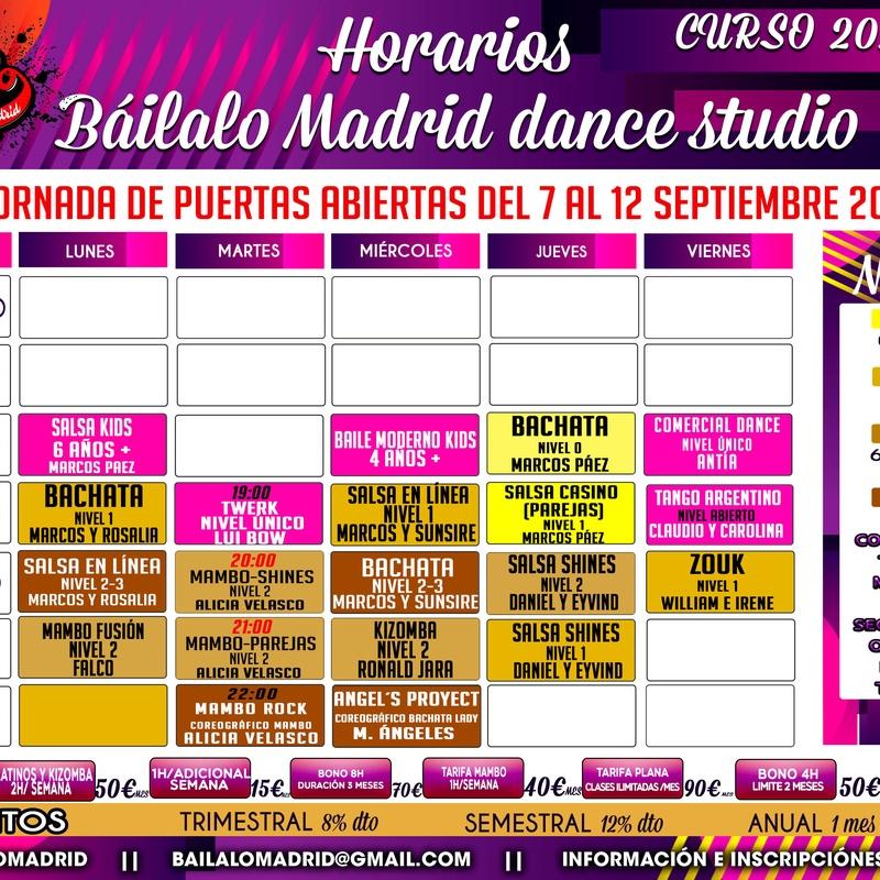 NUEVOS HORARIOS CURSO 20/21: Clases de Baile Online de Báilalo Madrid