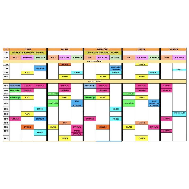 Horarios de las clases colectivas: Servicios de GIMNASIO LUCASPORT