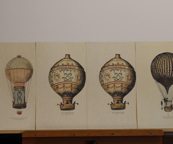 4 grabados de colección de 8, de globos aerostáticos de época