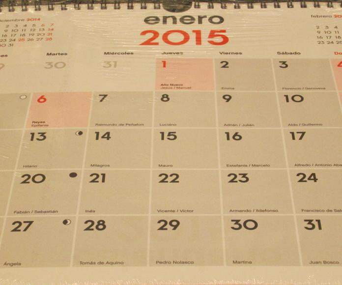 Calendario de pared 24,5 x 26,5 cms.