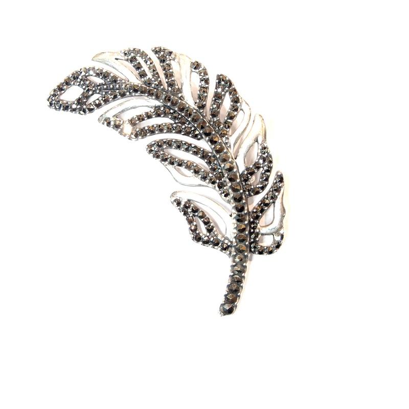 Broche de Plata de Ley y marcasitas. Ref.: AB-426/00: Catálogo de Antigua Joyeros