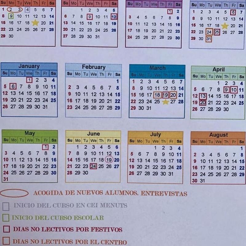 Calendario y Horario: Servicios  de Escuela Infantil Menuts