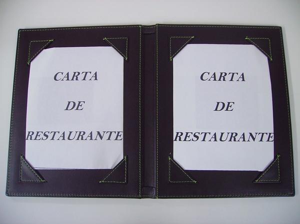 Carta De Restaurante CR-00555: Catálogo de M.G. Piel Moreno y Garcés