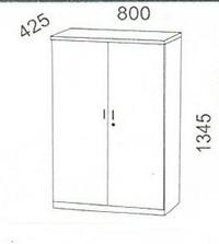 Armario madera media altura con puertas,cerradura y 2 estantes s.Solber