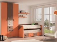 juvenil en naranja butano con nuez y detallen en moka, con compacto de cama, cama, 4 cajones.