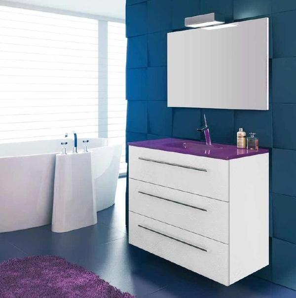 Mueble Complet C16 de 3 vajones y  arc plus cuero blanco
