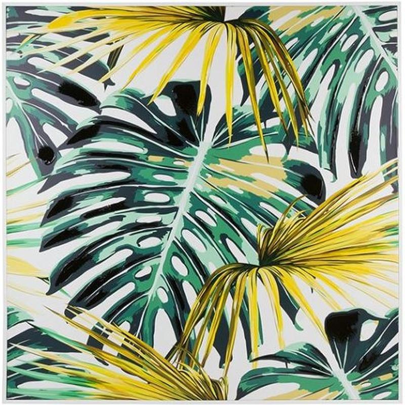 Cuadros de hojas amarillas y verdes