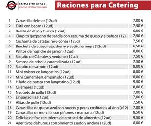 Raciones para catering