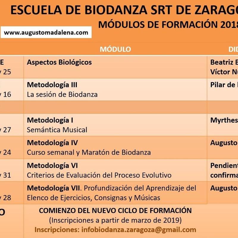 Próximos módulos de formación Escuela de Biodanza SRT Zaragoza 2018-2019