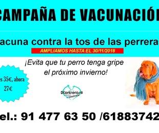 CAMPAÑA DE VACUNACIÓN TOS DE LAS PERRERAS. EVITA QUE TU PERO TENGA LA GRIPE ESTE INVIERNO