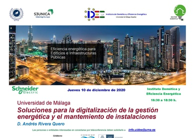 """Conferencia 10/12/2020 :Soluciones para la Digitalización de la Gestión Energética y  Mantenimiento de Instalaciones"""""""