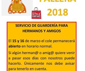 Guarderia el 15 y 16 de marzo de 2018 para niños de 3 a 6 años