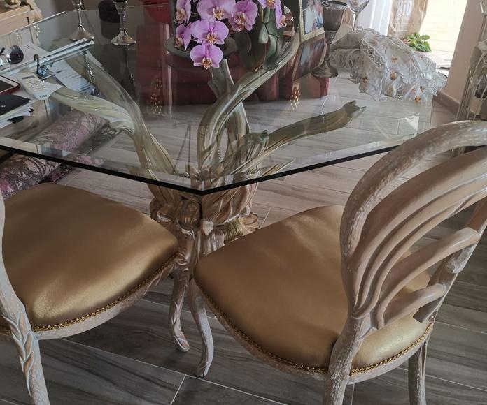 Restauración de sillas en sky dorado.