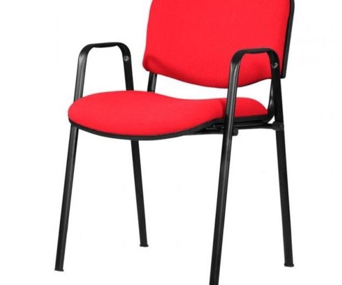 sillon fijo con brazos mod. 501 tapizado en tela de color rojo