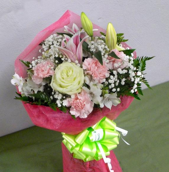 Ramo de regalo en tonos rosas y verdes