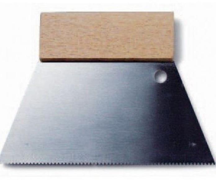 Espátula dentada de acero, mango de madera