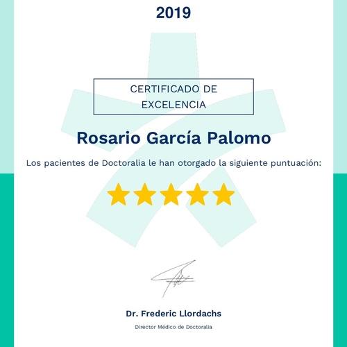 Mi certificado de excelencia de Doctoralia