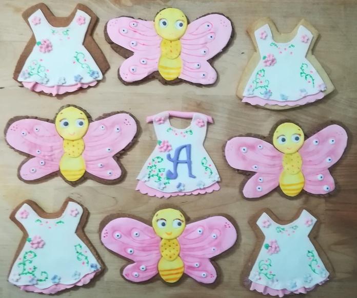 galletas para bautizo niña, Vestidos y mariposas