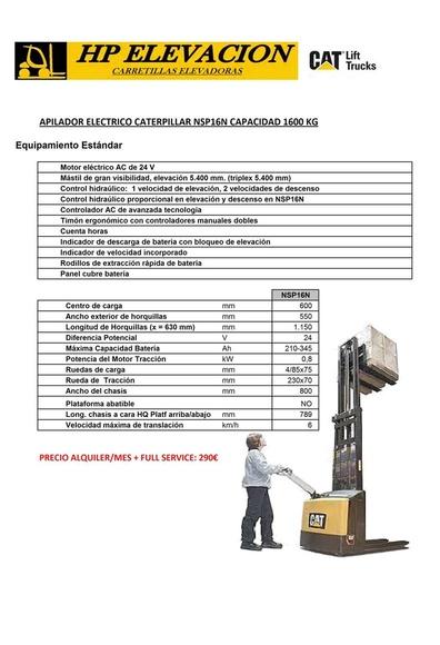 RENTING APILADOR CATERPILLAR 1600 KG: CATÁLOGO de HP Elevación