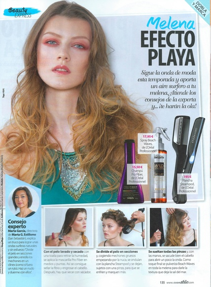 "REPORTAJE EN REVISTA ""STILO"" sobre la ""melena playera""/beach waves"