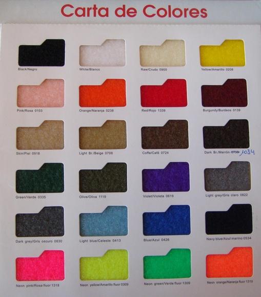 Carta de colores - Cinta de cierre Velcro-Veraco (Gancho y Rizo)