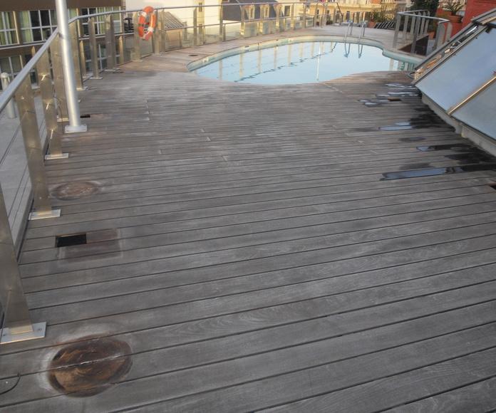 Otro detalle de la piscina antes de restaurar
