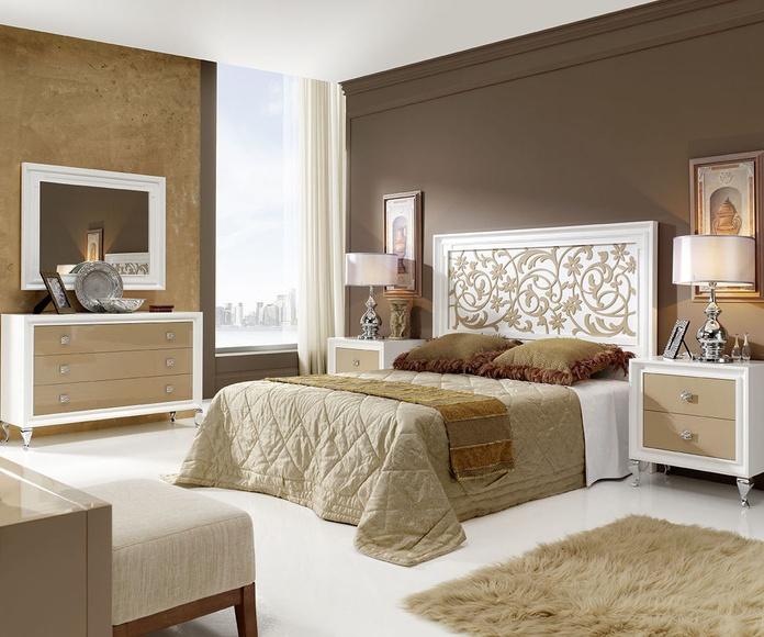 Dormitorio mod 81 Helios  blanco y capuchino, cabezal calado, pata metalica