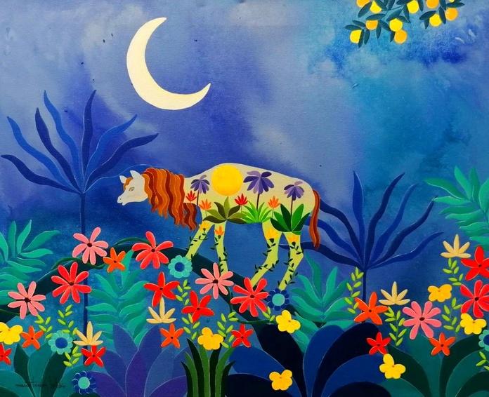 Unicornio en un mundo azul. acrilico/tela. 40x50cm. 325€.