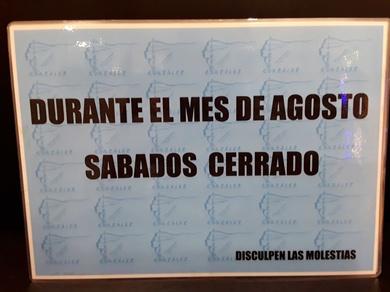 Los Sábados de agosto CERRADO.
