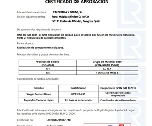 Certificado Llloyd's Register  ISO 3834-2: 2006