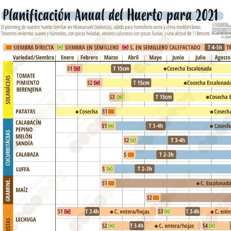 Planificación Anual de siembras, trasplantes y cosechas para 2021:  de Huertos Azor