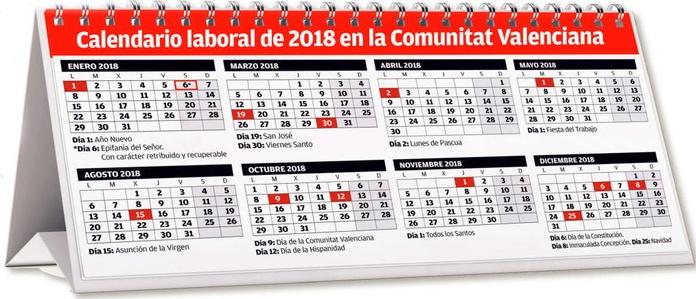 Calendario Laboral 2018 Comunidad Valenciana