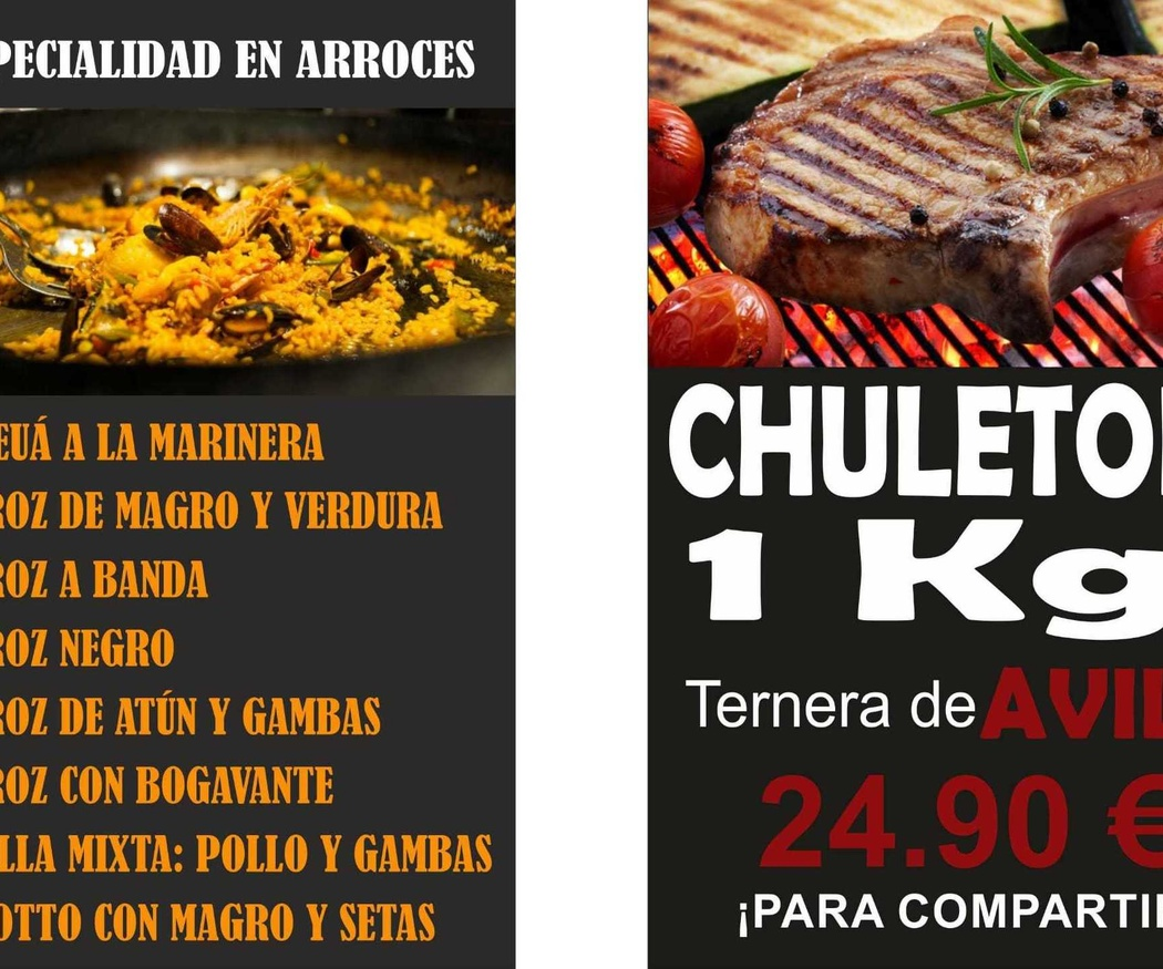 Especialistas en arroces y chuletón de Ávila