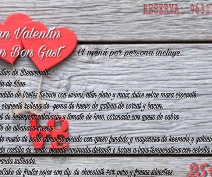 Menú san Valentín Restaurante Bon Gust barrio del Carmen