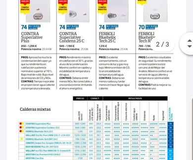 COMPARATIVA DE CALDERA POR LA OCU 2019
