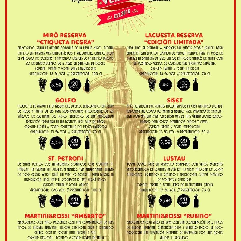 Vermuts: Nuestra Carta de La Barbería Baeza