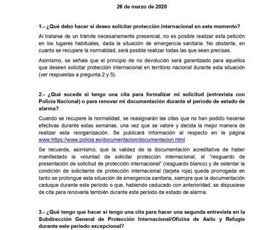 RESPUESTA A PREGUNTAS FRECUENTES SOBRE LA SITUACIÓN DEL SISTEMA DE PROTECCIÓN INTERNACIONAL DURANTE
